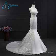 Lace Appliques Satin Strapless Wedding Dress Mermaid