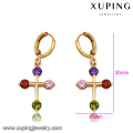 91903 xuping high quality fashion 18k gold color synthetic zircon women's drop earrings