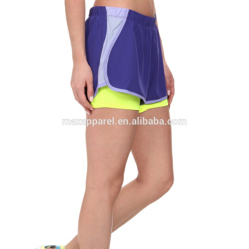 Double fabric athletic polyester crossfit shorts for women yoga gym