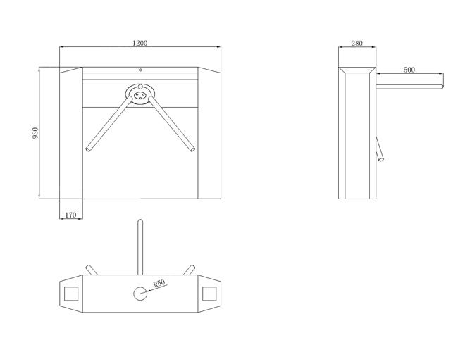 tripod turnstile size