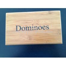Conjunto de dominó com caixa de bambu