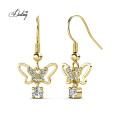 2021 New Design Dangle Butterfly Austrian Crystal Stud Earrings for Women
