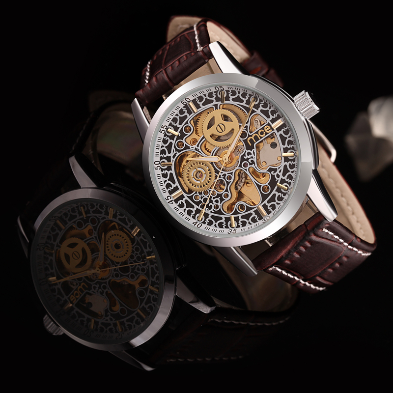 oem skeleton automatic mechanical mens watch