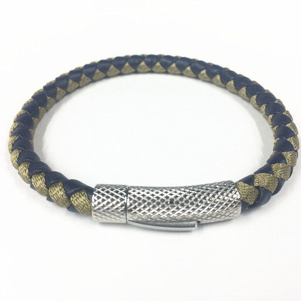 Mens Braided Leather Magnetic Clasp Bangle Bracelet