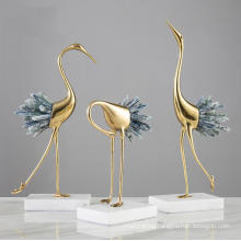 Natural Crystal Crane Decoration Living Room Cabinet Home Decoration Modern Light Luxury Brass Crane Home Decor Accessories