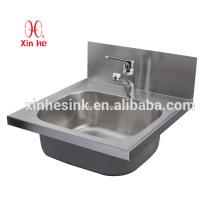 Edelstahl-Handwaschbecken mit Hahnlöchern, an der Wand befestigter Edelstahl-Handwascher für allgemeinen Gebrauch