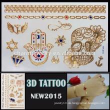 Soem-Großhandelsschädel-Blumenentwurf tatoo gefälschte Körper-Tätowierungart und weise 3d Tätowierung Aufkleber YH 019