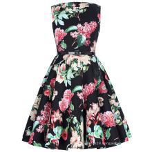 Kate Kasin Children Girls Sleeveless Round Neck Vintage Retro Cotton Floral Pattern Kids Summer Dress kKK000250-7