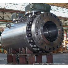 China Válvula de esfera de aço inoxidável parafusada da engrenagem de sem-fim do tamanho grande