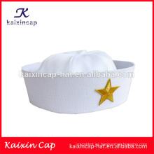 El marinero en blanco de encargo del sombrero del marinero de la nueva venta caliente por encargo del sombrero blanco al por mayor capsula sombreros