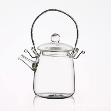 Heat Resistant Borosilicate  Glass Flowering Teapot