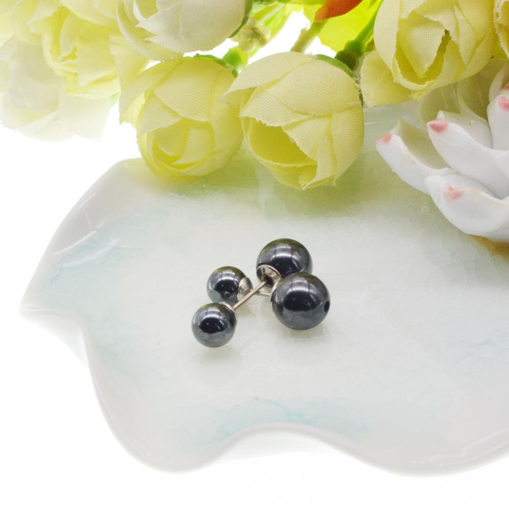 8MM Doulbe Magnetic Hematite Balls Stud Earrings