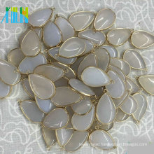 Agate Drop Pendant Bezel Charm Single Bail Nature Gemstone Cabochon Jewelry Findings