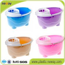 Nuevo diseño Squeeze cubo de fregona de plástico con ruedas