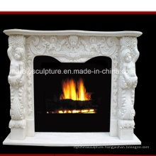 Child Statue Surface Carved Marble Fireplace (SY-MF169)