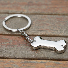 Zinc Alloy Dog Bone Keychain Engravable