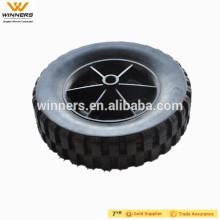 Rodas plásticas do cortador de relva de 8 polegadas, rodas de borracha contínuas