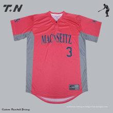 Healong Digital Textil Impresión baratos en blanco de béisbol Jerseys V cuello