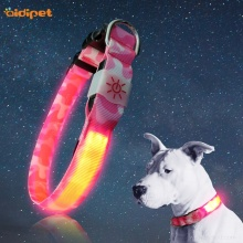 Pink Camouflage Nylon Led Lighted Flashing Dog Collar