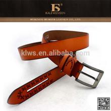 Cinturón de cuero de diseño exclusivo útil de la tapa de la manera sin los agujeros
