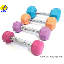 Gym Fixed Colorful Rubber Coated Hex Dumbbell