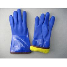 Luva de trabalho de inverno PVC totalmente acrílico forro azul
