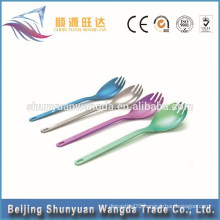 2015 hot selling light-weight healthy unfolding Titanium Spork for titanium fork and titanium spoon