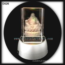 levou de cristal gravadas a laser 3D cristal buddha artesanato com base