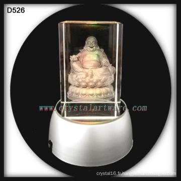 3D crystal gravé au laser crystal Bouddha artisanat avec conduit de base