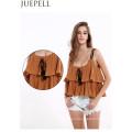 Mujeres europeas y americanas nuevo verano color sólido Top laminado volantes pliegue vendaje Strapless arnés pequeña camisa blusa chaleco de las mujeres