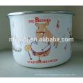 High enamel ice bowl cute Elephant decals Enamel Storage bowl