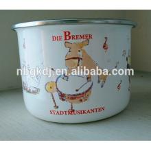 esmalte servindo tigela com tampas de pe / esmalte alta tigela de armazenamento com decalques bonitos
