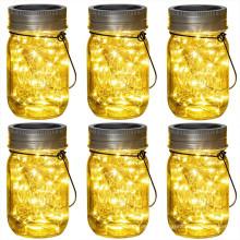 20LED Solar Colgante Mason Jar Tapa de luz