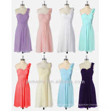 One Shoulder Flowers Padded Ruffles Bridesmaid Dress 8 Colors Short Bridesmaid Dresses Cheap DB98