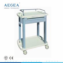 AG-LPT006A Krankenhaus 2 Schicht ABS Luxus Kunststoff medizinische Wagen mit Schublade