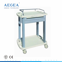 AG-LPT006A hospital 2 layer ABS luxury plastic medical cart with drawer