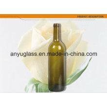 Frasco de vinho tinto de vidro verde / âmbar antigo de Bordeaux