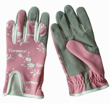 Flor de señora sintética cuero guantes de trabajo de jardinería