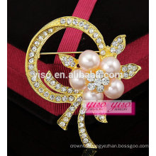 crystal pearl fancy brooch pin