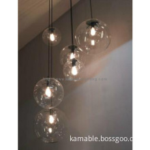 Graceful transparent glass shade hanging light fixture