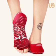 Chaussette de yoga antidérapante professionnelle avec orteils ouverts