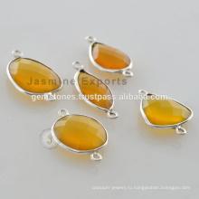 Серебро 925 Пробы Желтый Халцедон Драгоценный Камень Безель Разъемы