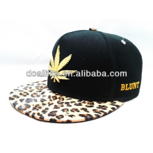 flower metal logo with print visor 5panel snapback cap made in china