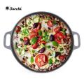 12/14 pulgadas de hierro fundido pre-sazonado ronda Pizza Pan