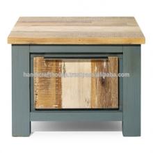 Mesa de café antiga de armazenamento quadrado de madeira Mango