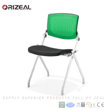 Orizeal Popular factory price metal four legs folding office visitor chair with arms for sale(OZ-OCV008-2B)