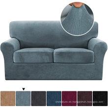Fundas de sofá elásticas de terciopelo de rayas gruesas de 3 piezas