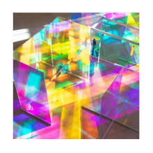 Good quality decorative glass dazzling colored iridescent dichroic glass sheet for table