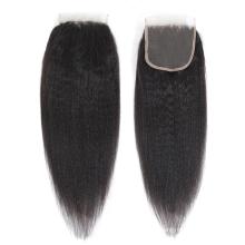 Virgin Cuticle Aligned Human Hair Yaki Straight 4X4 Lace Closure