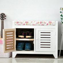 Gabinete de almacenamiento caliente barato del zapato de la venta con Seat, estante de madera del zapato de los otomanos